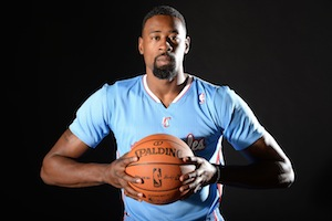 Photo of DeAndre Jordan wearing new blue jersey