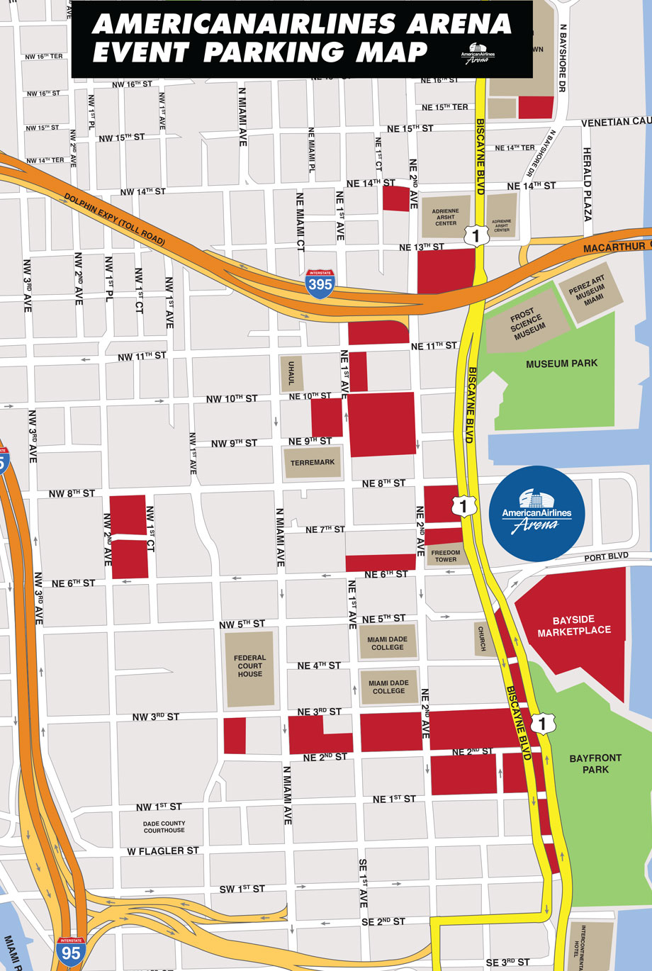 AmericanAirlines Arena Parking Lot Map