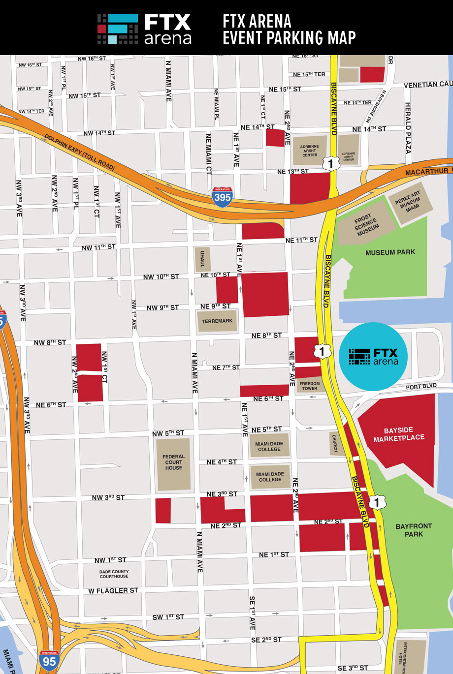 FTX Arena Parking Lot Map