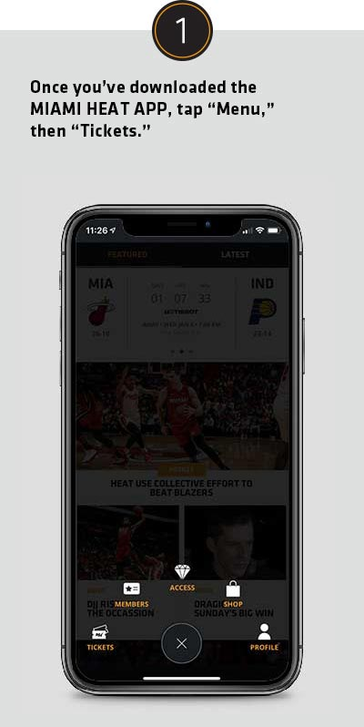 Once you've downloaded the Miami HEAT App, tap Menu then Tickets.