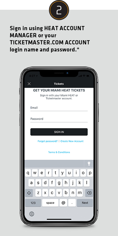 Sign in using HEAT ACCOUNT MANAGER or you TICKETMASTER.COM ACCOUNT login name and password.