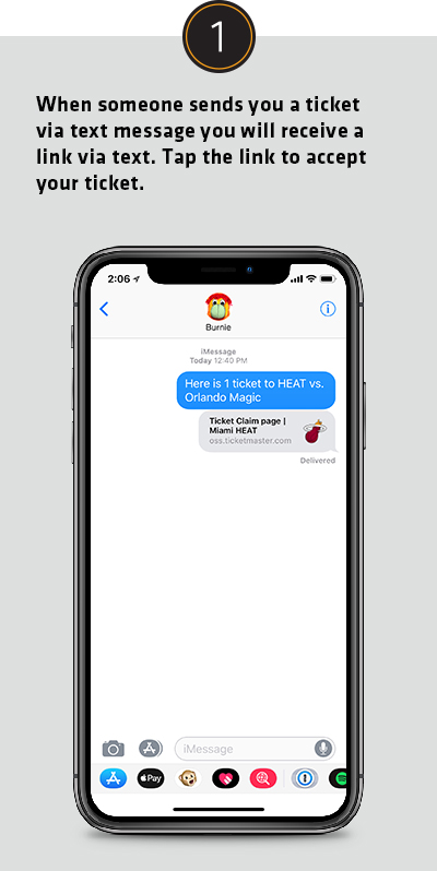 When someone sends you a ticket via text message you will receive a link in along with the text. Tap the link to accept your ticket.