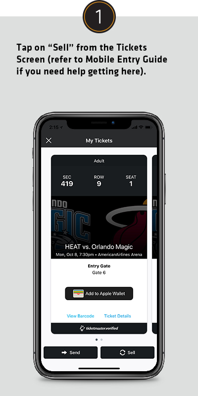 Tap on Sell from the Tickets Screen (refer to Mobile Entry Guide if you need help getting here).