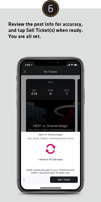 Review the post info for accuracy, and tap Sell Ticket/s when ready. You are all set.