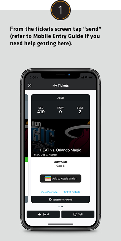 From the tickets screen tap send (refer to Mobile Entry Guide if you need help getting here).