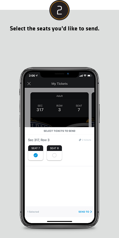 Select the seats you'd like to send.
