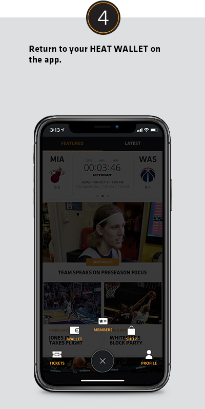 Return to your HEAT WALLET on the app.