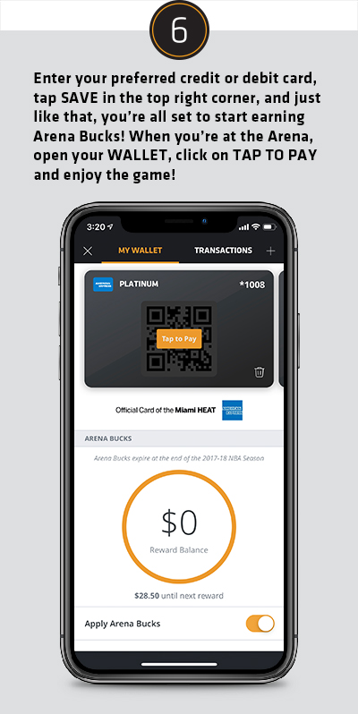 Enter your preferred credit or debot card, tap SAVE in the top right corner, and just like that, you're all set to start earning Arean Bucks! When you're at the Arena open your WALLET, click on TAP TO PAY and enjouy the game!