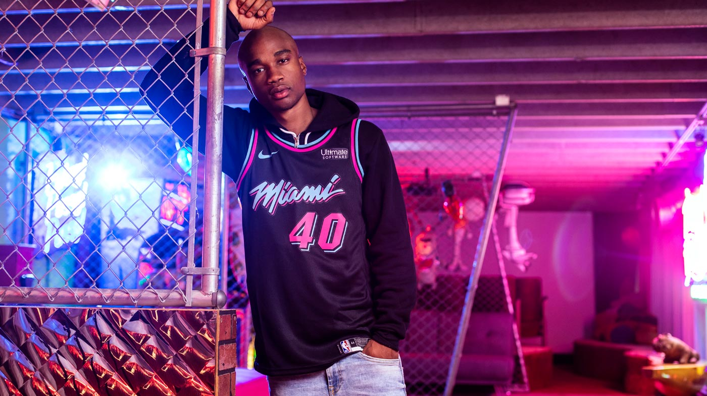 0d0d4455818 Udonis Haslem Nike Miami HEAT Vice Nights City Edition Swingman Jersey
