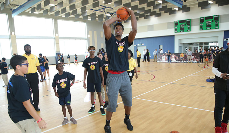 Hassan Whiteside at the Hispanic Heritage event
