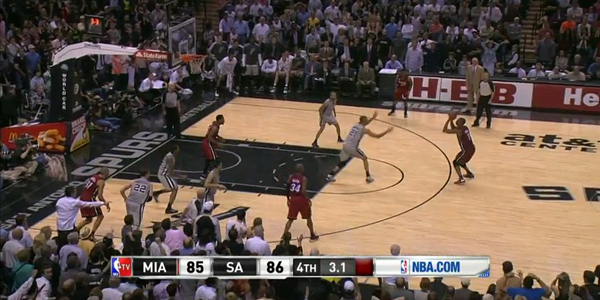 Chris Bosh is wide open as he shoots the game winning three