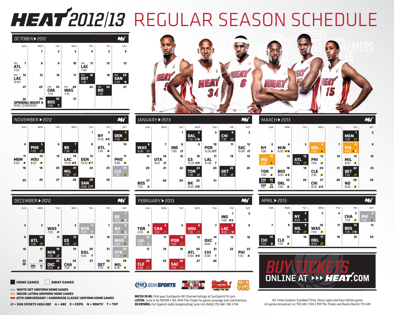 HEAT fans can download their choice of multiple schedule grids featuring  HEAT players. Select your size to download  1024x768 ... 1a1f16643