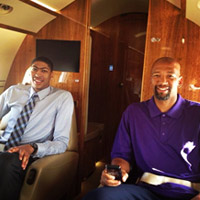 Pelicans Anthony Davis and head coach Monty Williams on their way to the NBA Draft Lottery