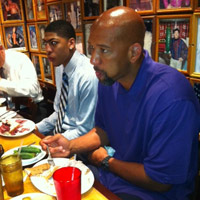 Pelicans Anthony Davis and head coach Monty Williams have lunch at Carnegie Deli in Manhattan