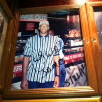 A photo of head coach Monty Williams hangs on the wall at Carnegie Deli in Manhattan