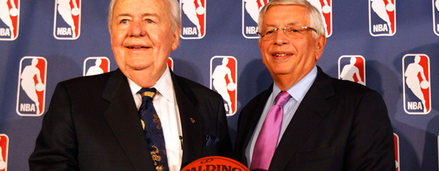 NBA Commissioner David Stern with Pelicans owner Tom Benson