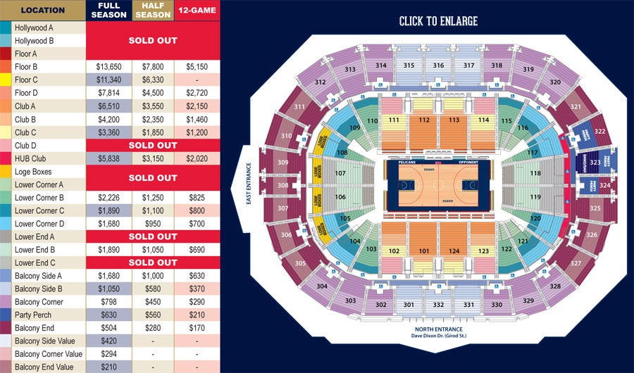 Pelicans seating chart tickets eagles new orleans la at