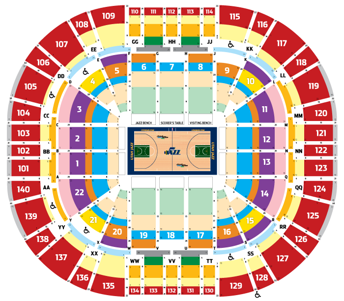 2013-14 Utah Jazz Seating Map