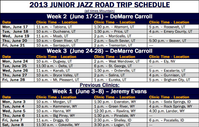 Junior Jazz Clinics Schedule