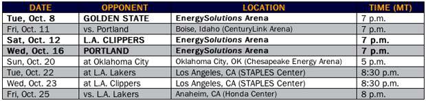 Utah Jazz Announces 2013 Preseason Schedule