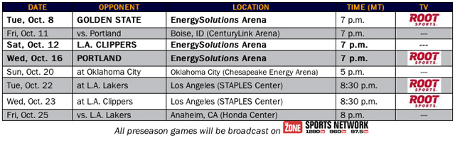 Utah Jazz 2013 Preseason Broadcast Schedule