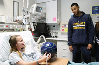 Utah Jazz Players and Coaches Visit Local Children's Hospitals