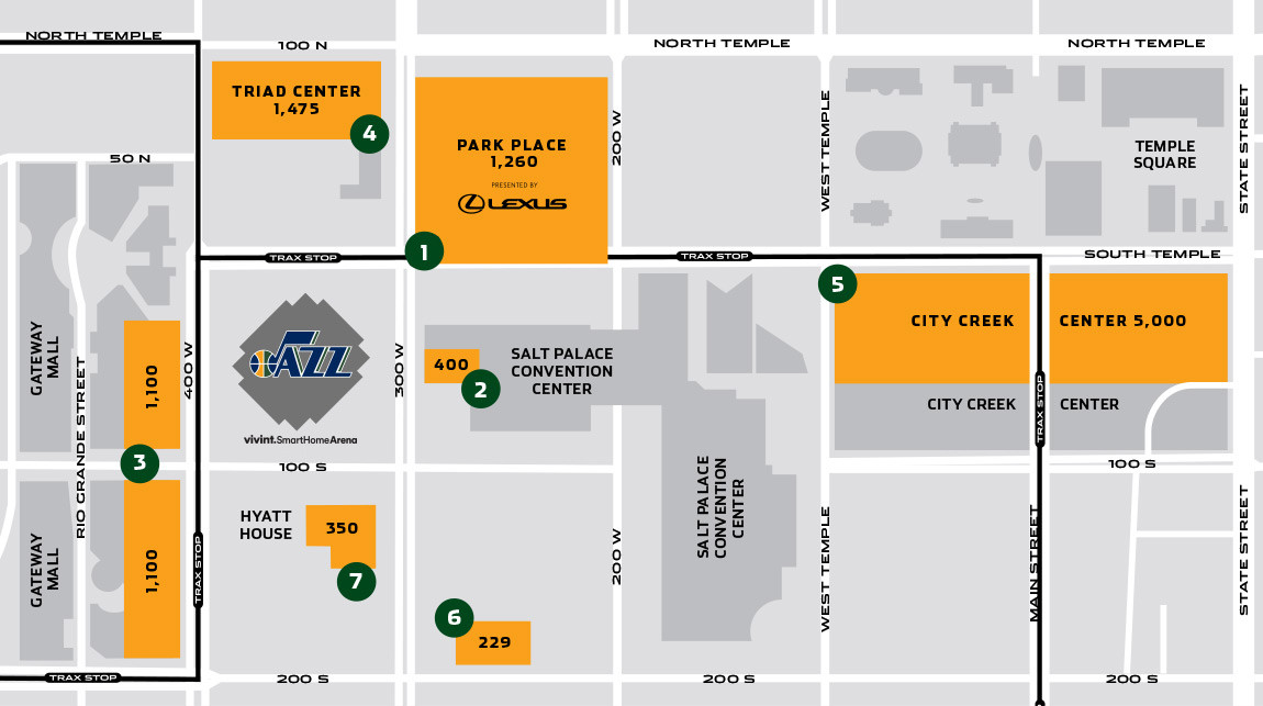 Parking near Vivint Smart Home Arena for Utah Jazz games.