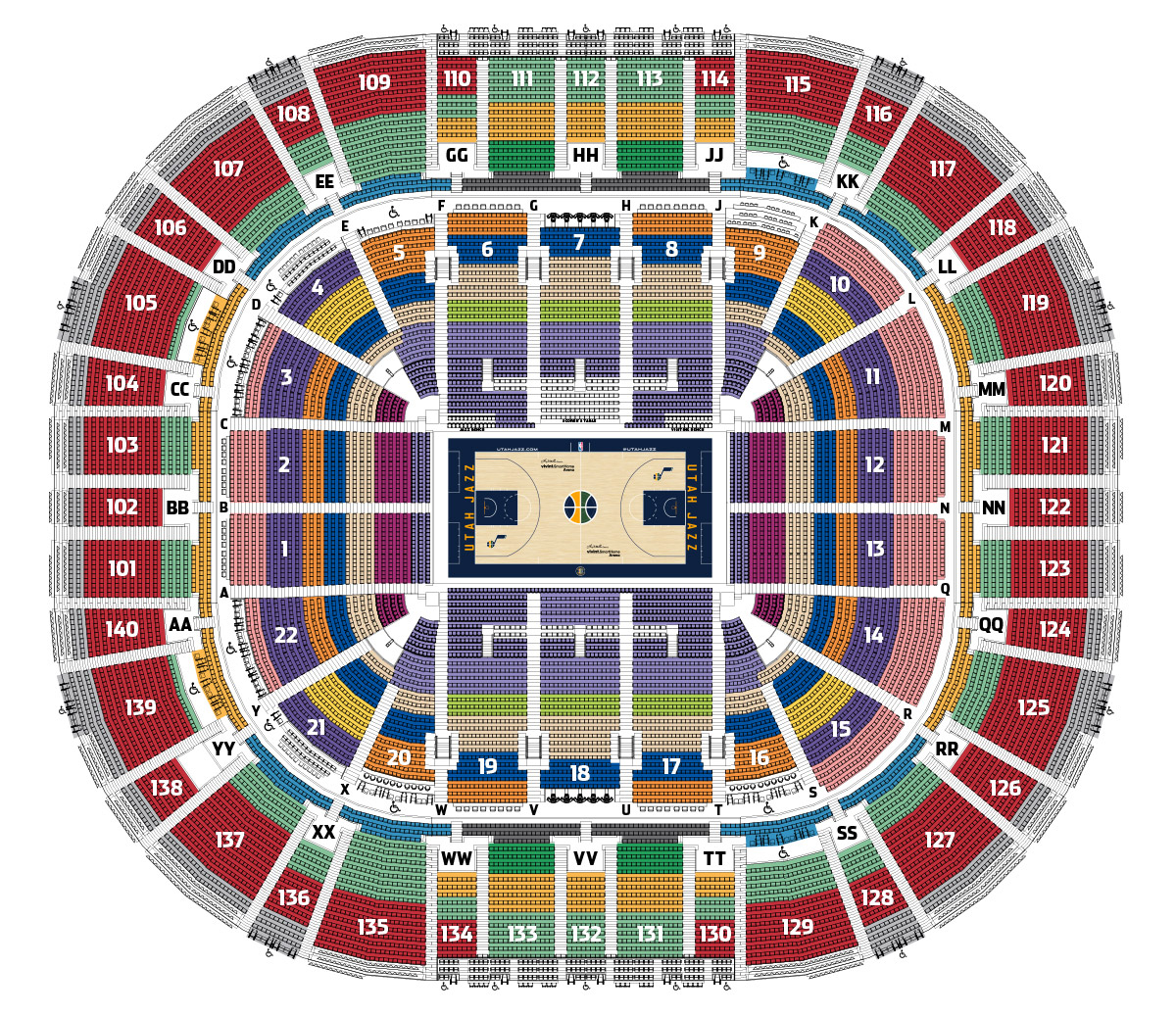 Utah Jazz Seating Map Utah Jazz - Verizon center seating map