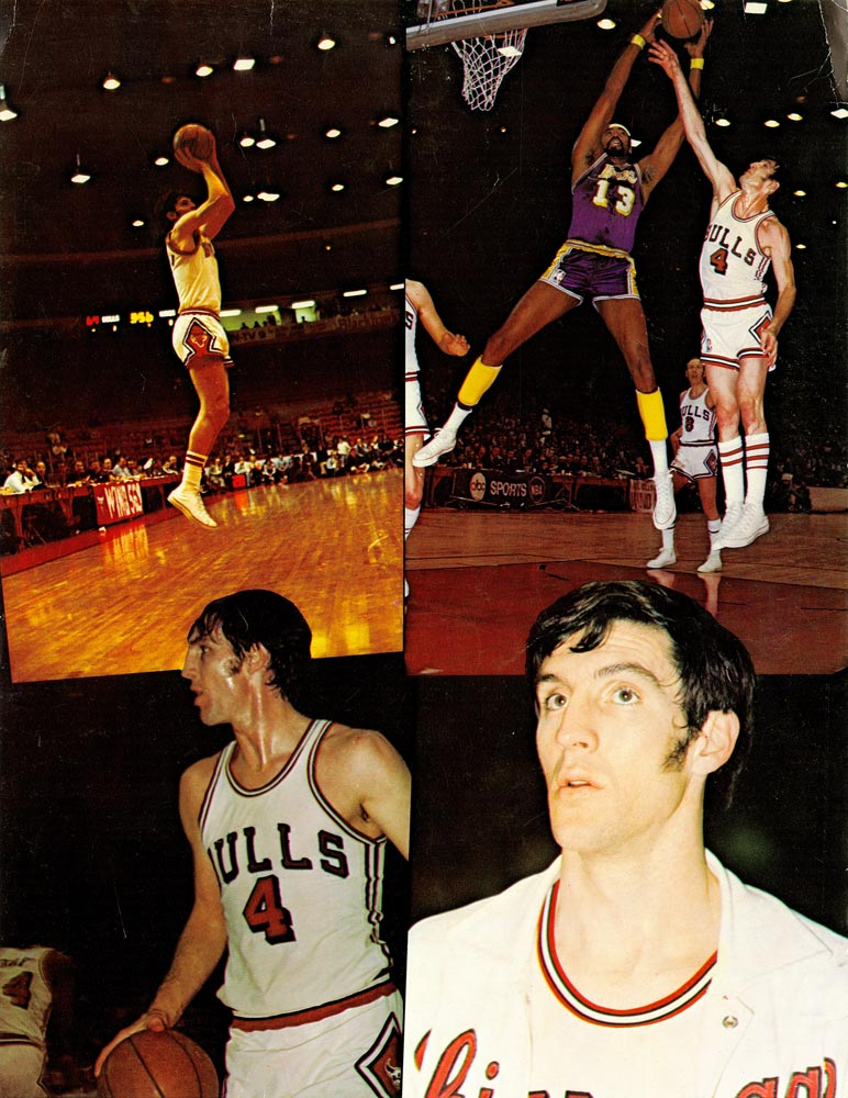 A collage of Jerry Sloan during his time on the Chicago Bulls.