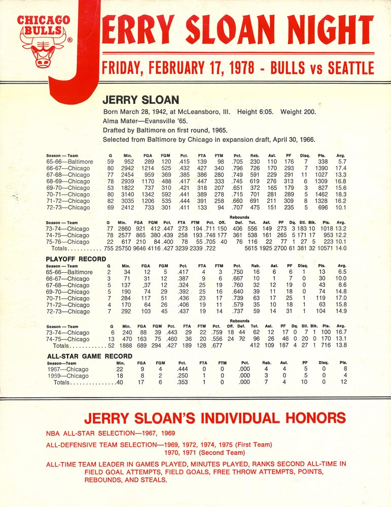 A poster from Jerry Sloan Night in 1978.