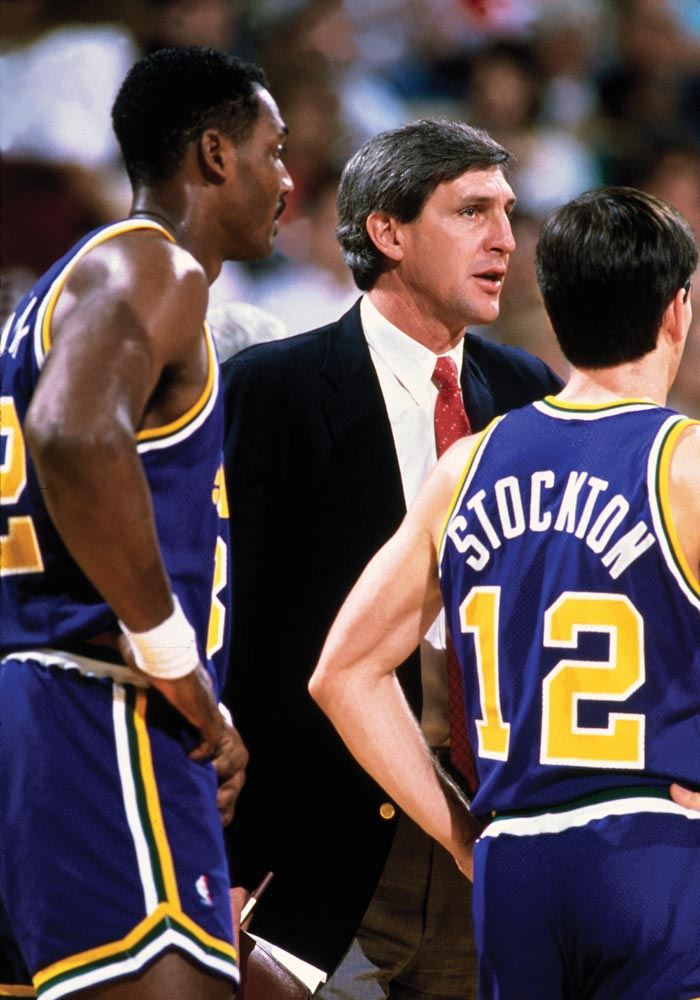 Jerry Sloan with Karl Malone and John Stockton.