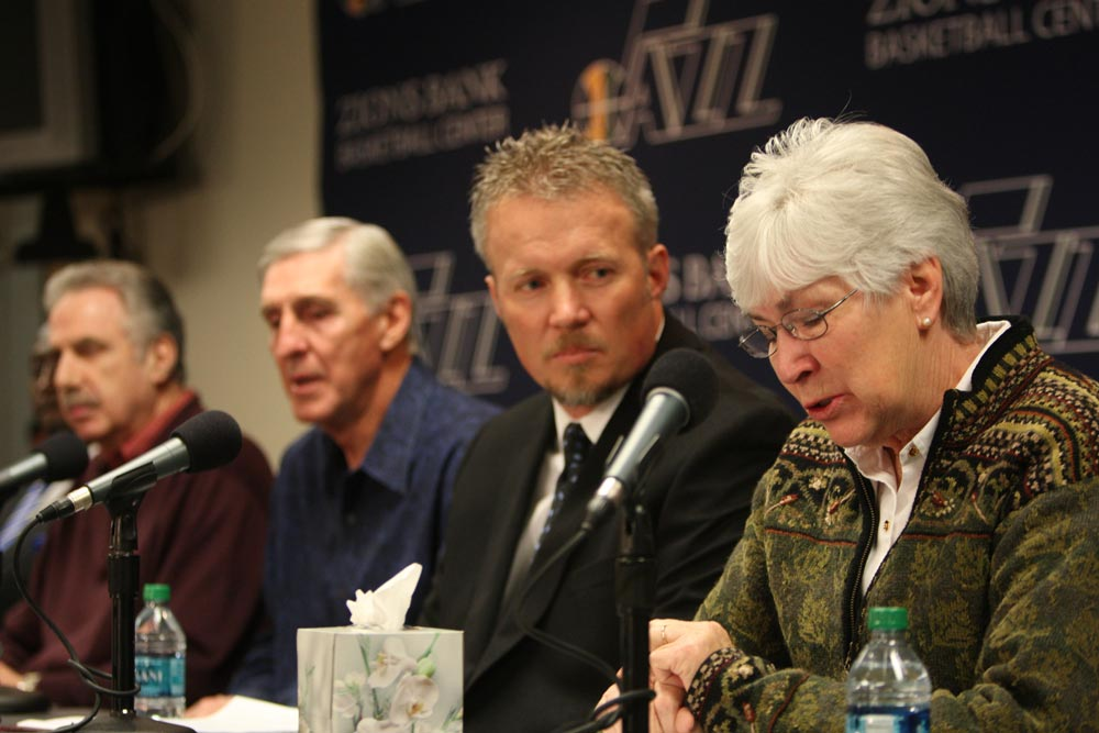 Gail Miller with Jerry Sloan at a press conference.