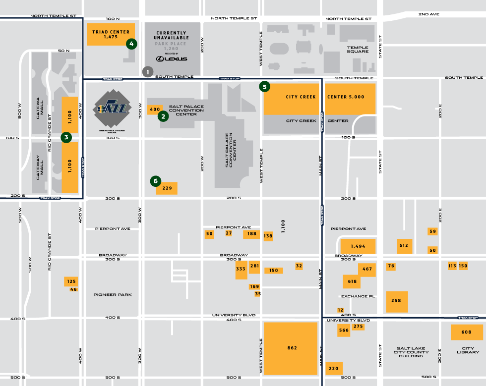 Parking near EnergySolutions Arena for Utah Jazz games.