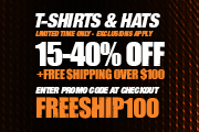 15 to 40 Percent Off Tees and Hats