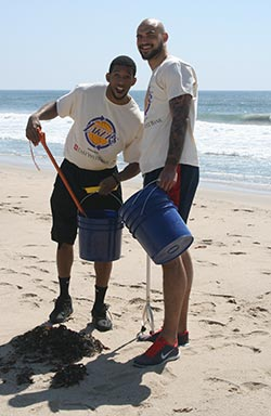 Darius Morris and Robert Sacre - Beach Clean Up