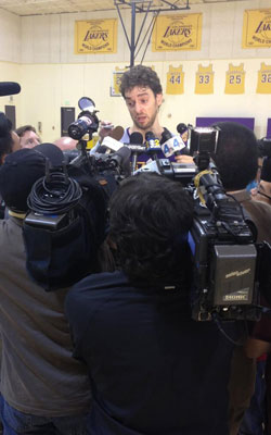 Pau Gasol answers questions after practice
