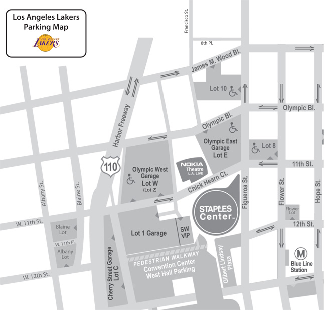 Parking lot map around STAPLES Center