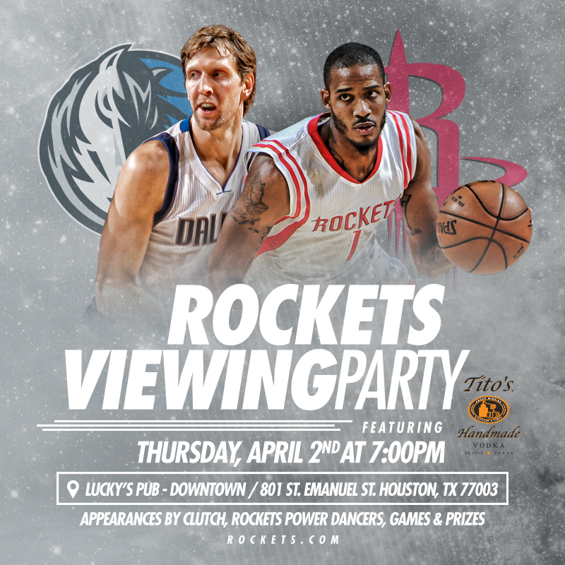 Rockets Viewing Party on April 2, 2015 at Lucky's Pub