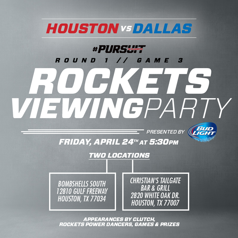 Rockets Viewing Party on April 24, 2015 at Bombshells South and Christian's Tailgate
