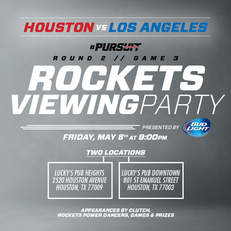 Rockets Viewing Party on May 8th at Lucky's Pub