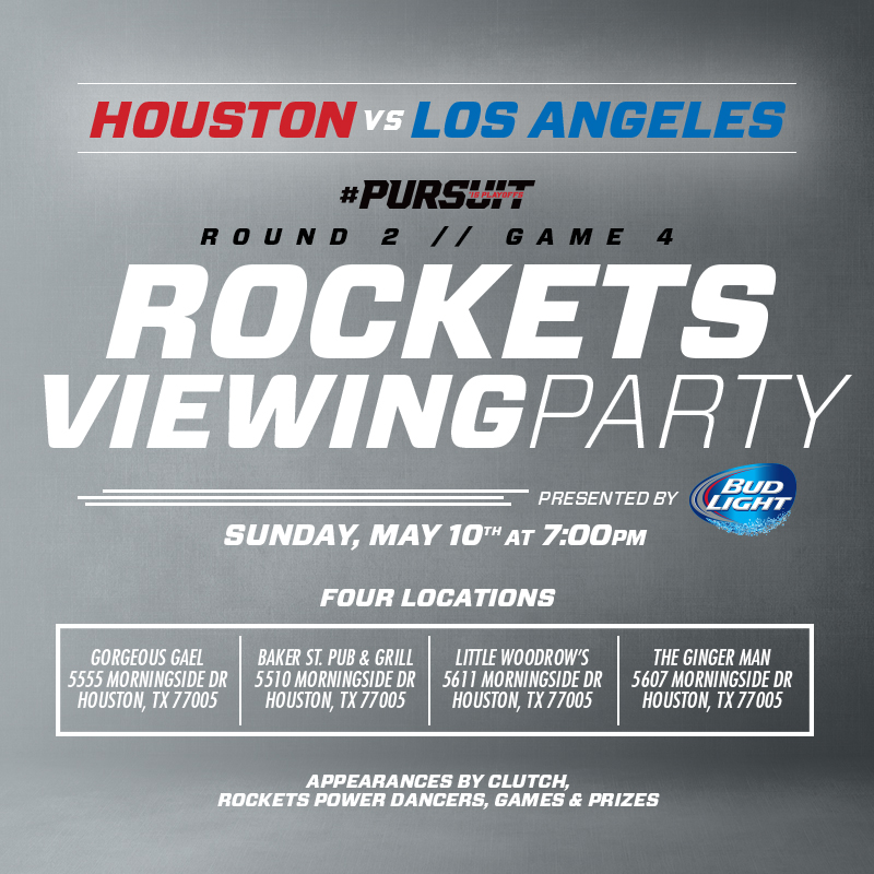 Rockets Viewing Party on May 10, 2015 near Rice Village