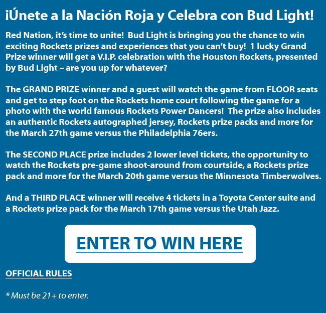 Houston Rockets And Bud Light Sweepstakes