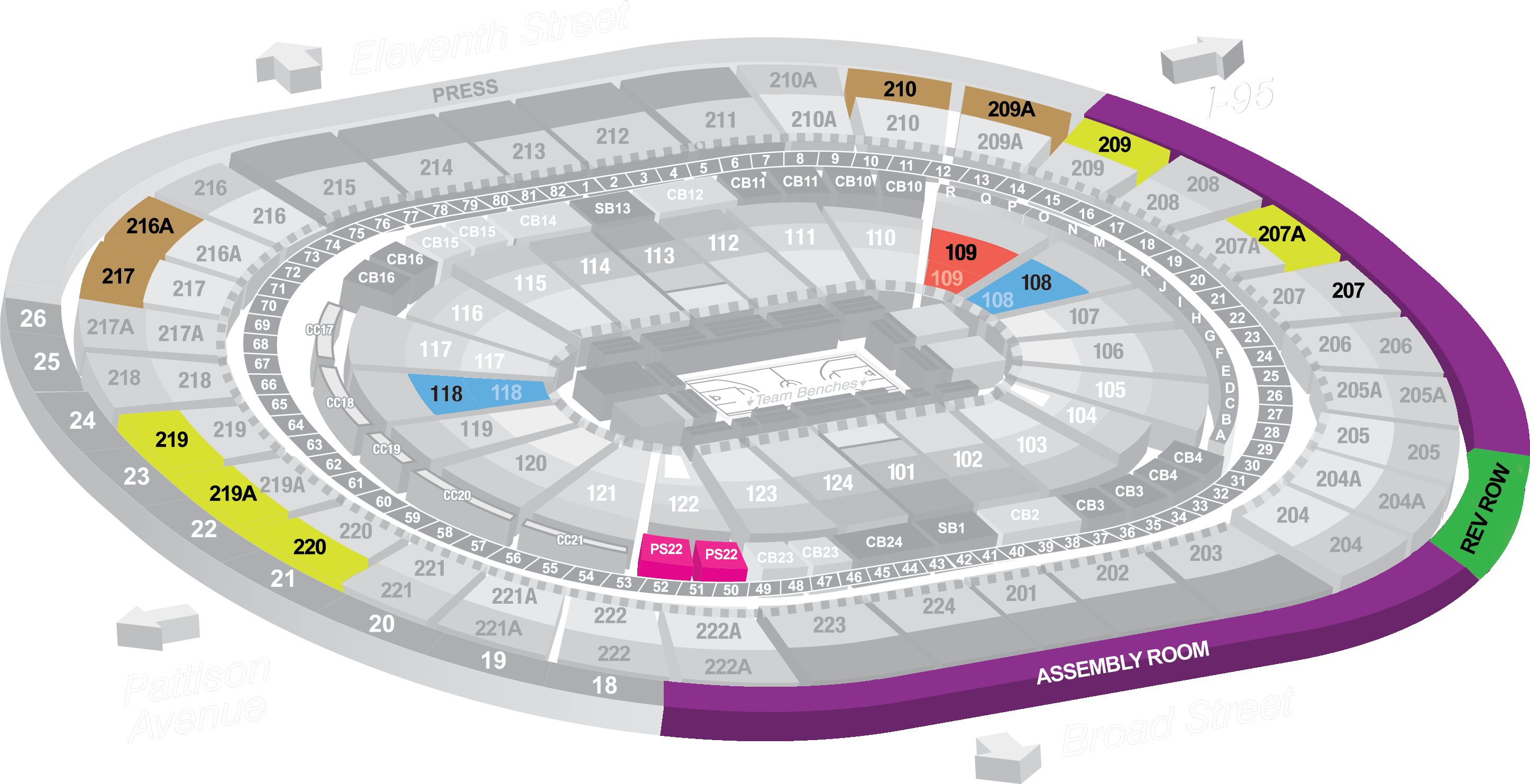 group ticket sales seating map