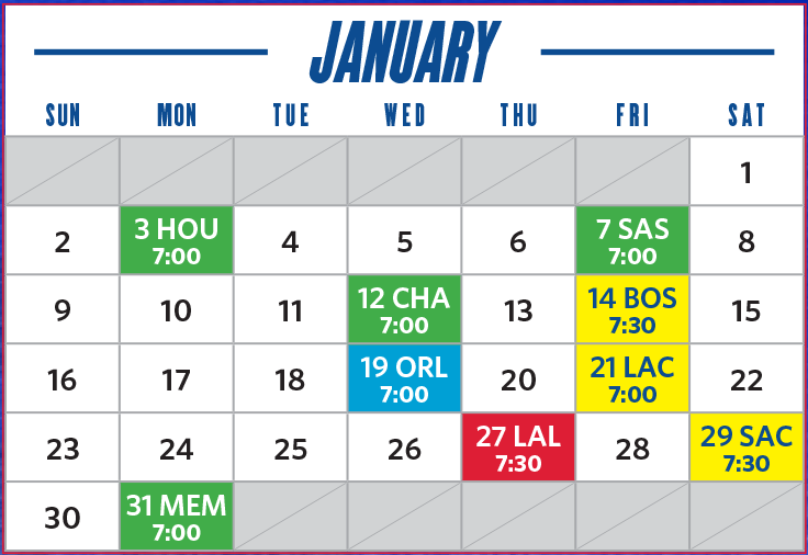 january game schedule