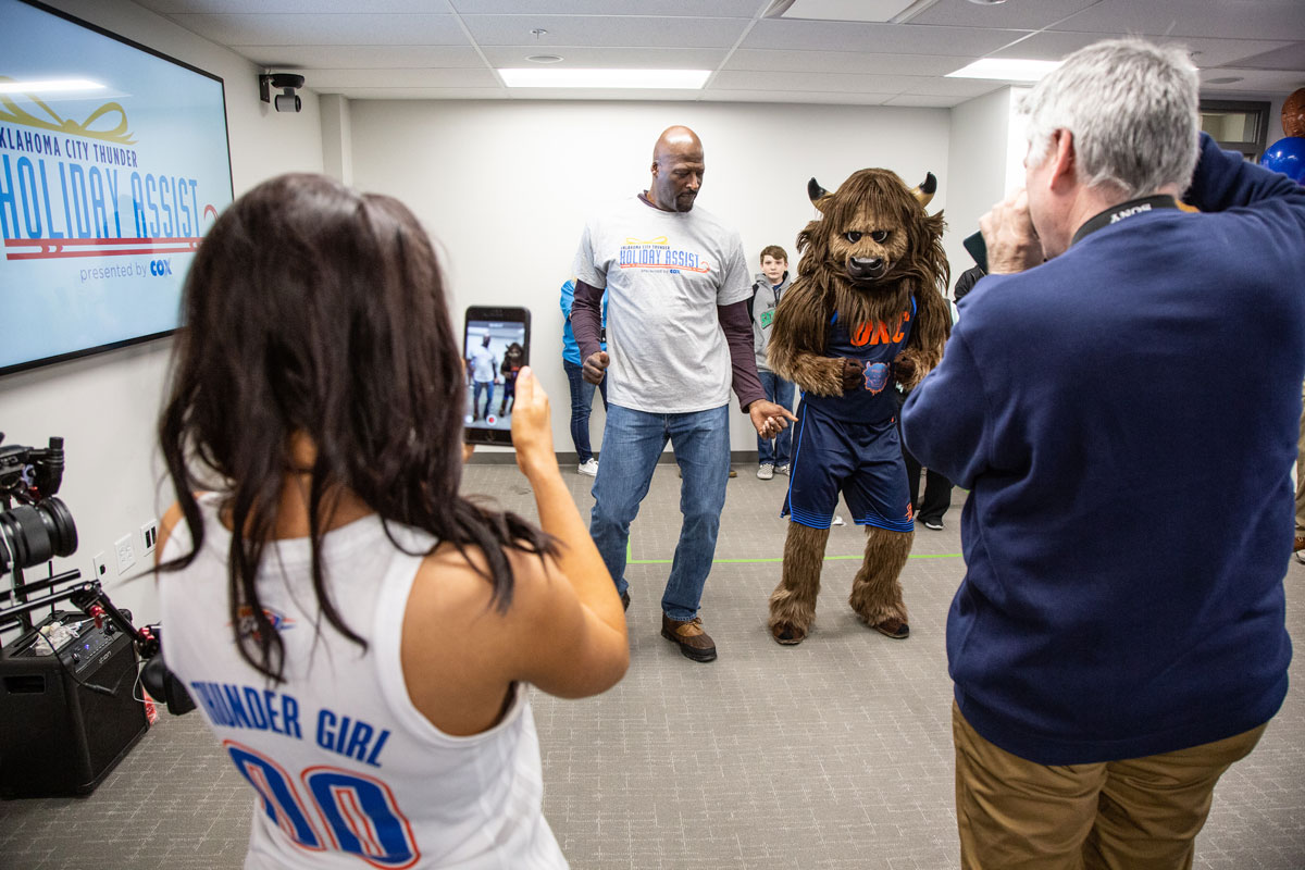 Michael Cage with Rumble the Bison