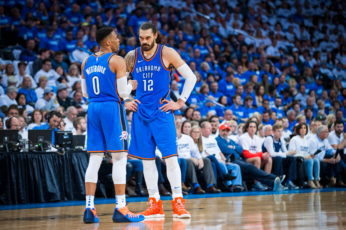 Russell Westbrook and Steven Adams