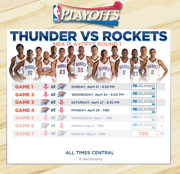 Thunder 2013 First Round Playoff Schedule Announced