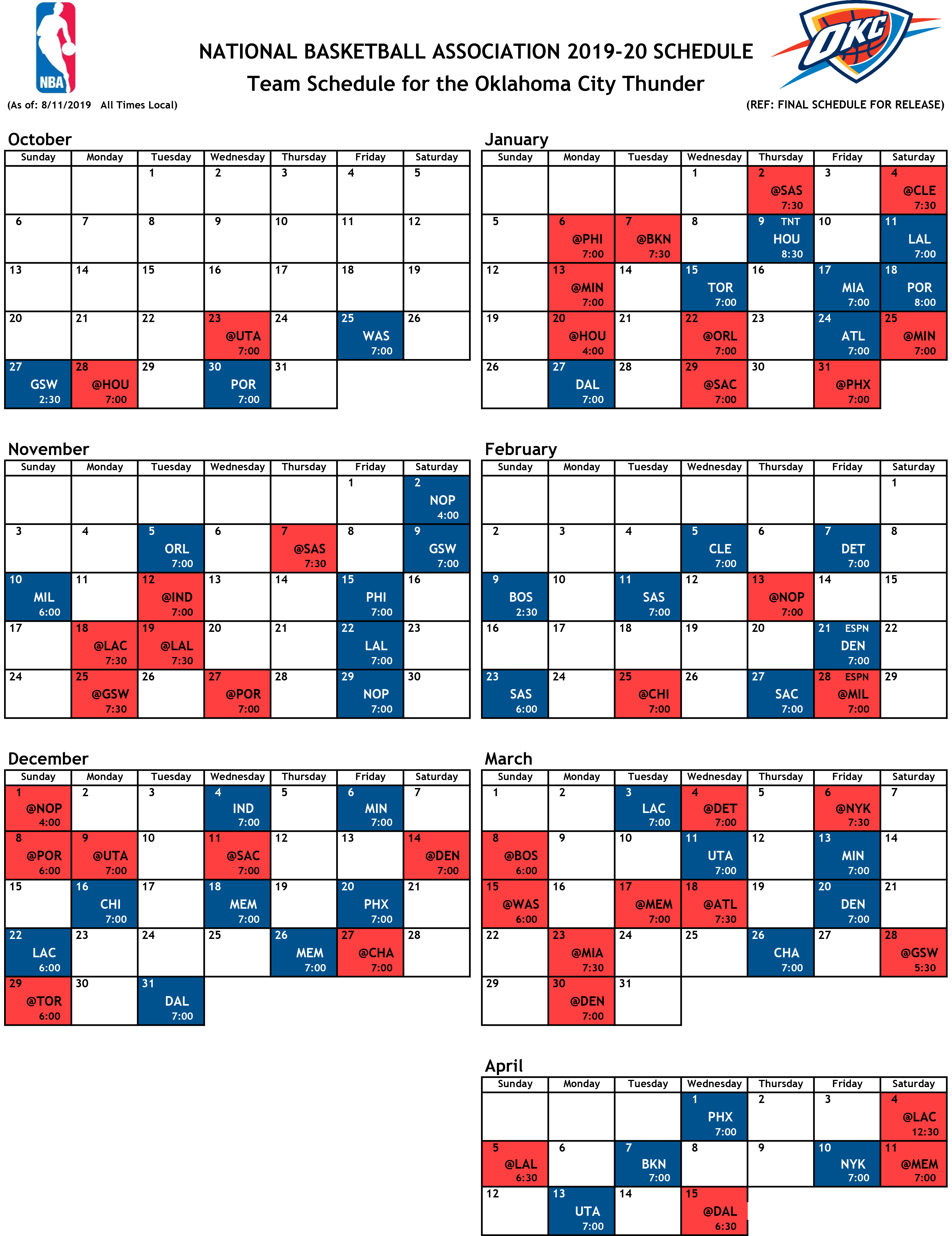 OKC Thunder Schedule 2019-20 NBA Season