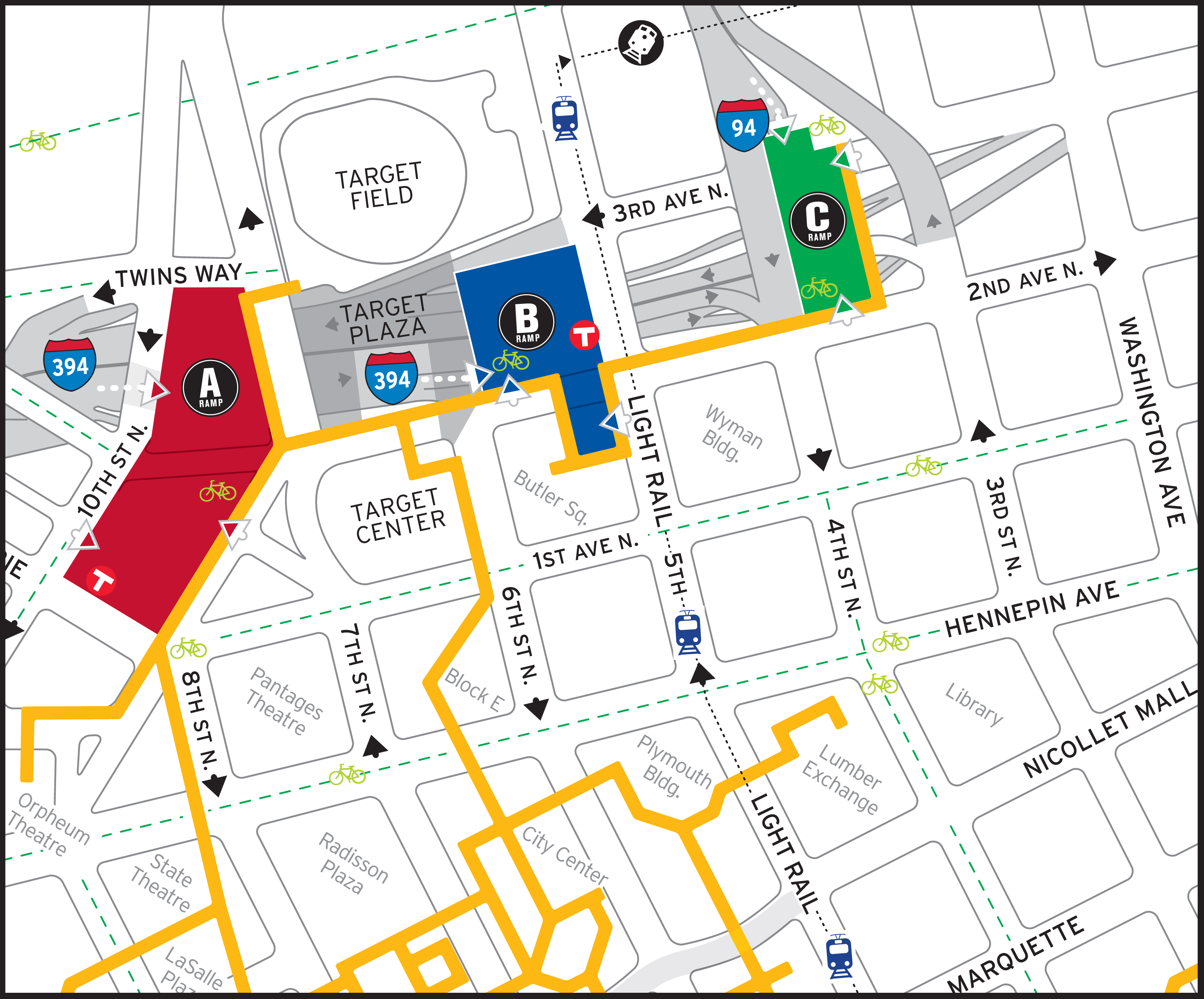 Directions And Parking Minnesota Timberwolves - Parking map us bank stadium