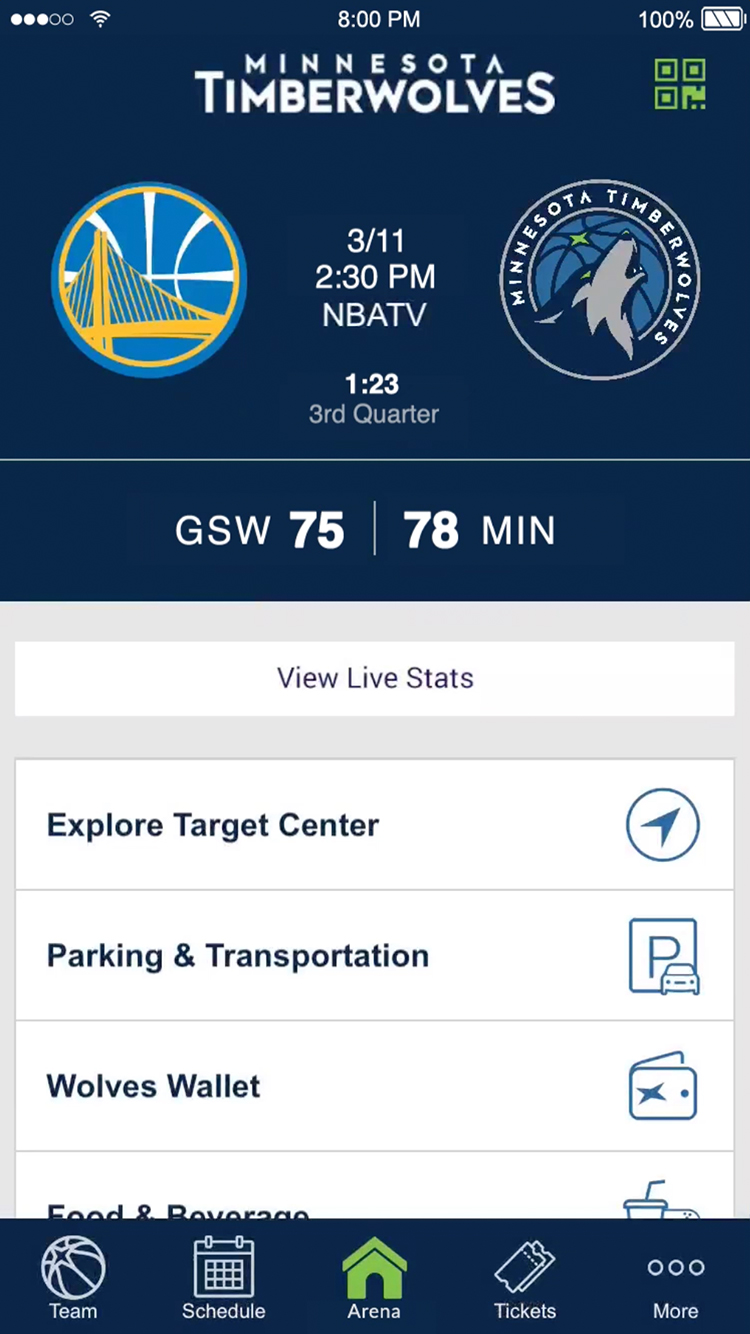Mobile Ticketing on the Timberwolves App